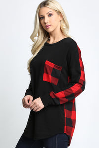 RED/IVORY PLAIN FRONT PLAID