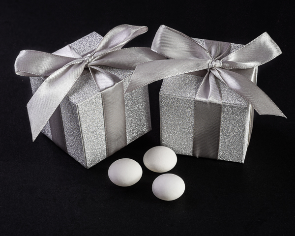 Shimmering Silver Favour Boxes (Set of 24) - ArtisanoDesigns