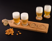 "Load image into Gallery viewer, ""Cheers!"" Beer Flight - Tasting Paddle with Coasters - ArtisanoDesigns"
