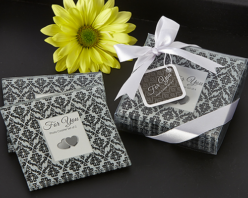 Classic Damask Black & White Photo Coaster Favor (Set of 4)
