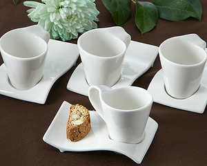 Swish Cup and Biscotti Plates Favor (Set of 4) - ArtisanoDesigns