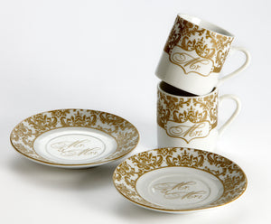 Mr. & Mrs. Espresso Cup Set in Gold (Set of 2) - ArtisanoDesigns