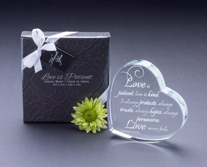 """Love Is Patient..."" Heart Shaped Laser Etched Crystal Gift - ArtisanoDesigns"