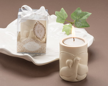 "Load image into Gallery viewer, ""Love and Peace"" Dove Tea Light Candle Holder Favor - ArtisanoDesigns"