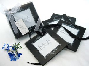 Memories Forever Glass Photo Coasters in Black Favor (Set of 4)