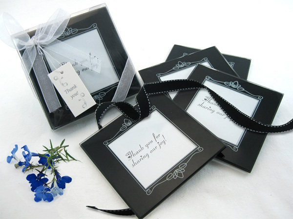 Memories Forever Glass Photo Coasters in Black Favor (Set of 4) - ArtisanoDesigns