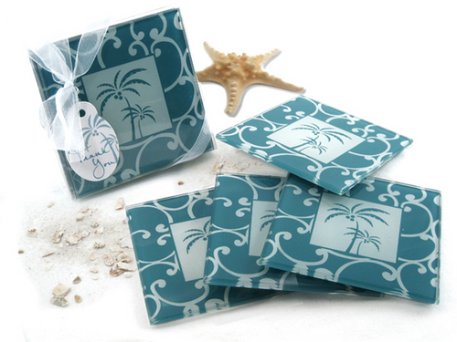 Tropical Breeze Palm Tree Glass Coasters Favor (Set of 4) - ArtisanoDesigns