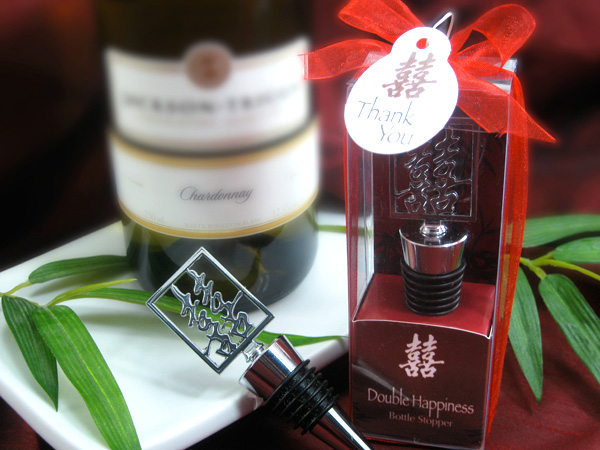 Double Happiness Shuang Xi Bottle Stopper in Harmony Gift Box Favor - ArtisanoDesigns
