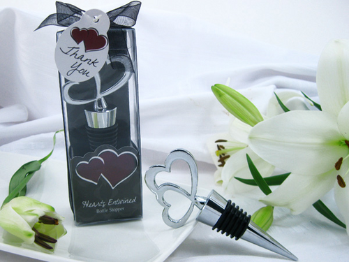 Hearts Entwined Double Heart Bottle Stopper in Designer Gift Box Favor
