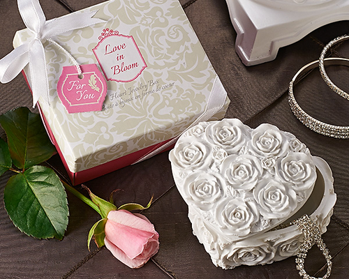 'Love in Bloom' Heart Jewelry & Trinket Box Favor