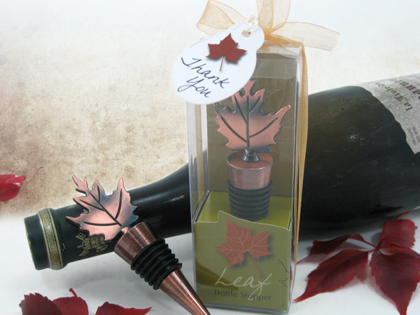 Bronze Elegance Fall Leaf Bottle Stopper in Designer Gift Box - ArtisanoDesigns