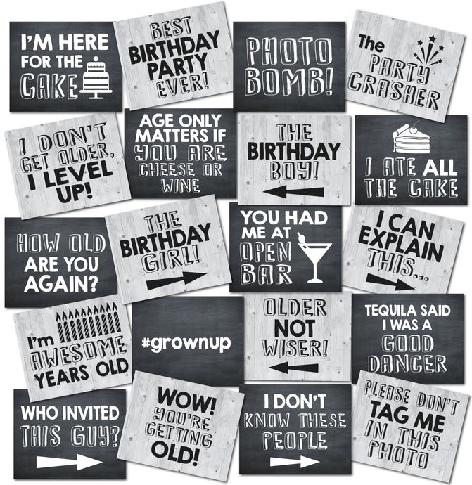 Birthday Photo Booth Prop Signs
