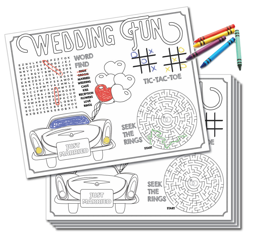 Kids Wedding Activity Placemats (24 Count)