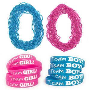 Baby Gender Reveal Party : Wristbands & Bead Necklaces