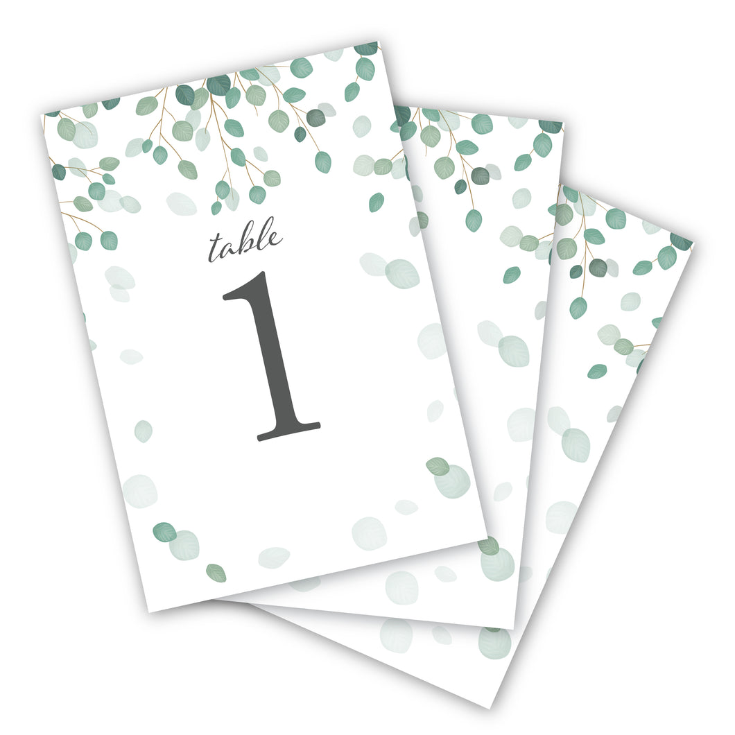 Wedding & Event Table Numbers (Eucalyptus)