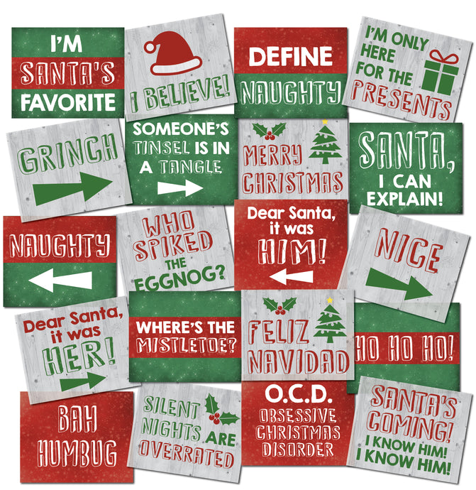 Christmas Photo Booth Prop Signs