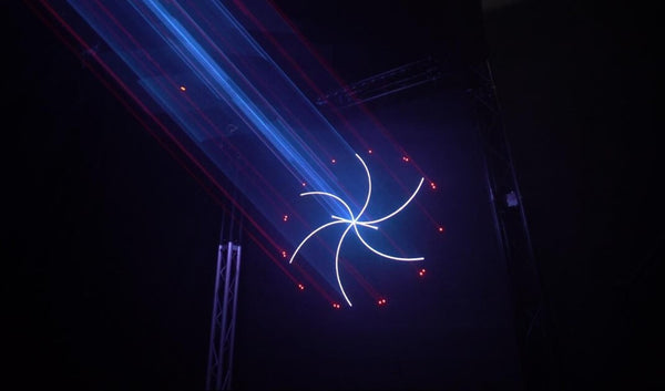 Laser Show Cue with white spiral and red hot beam laser beam effects