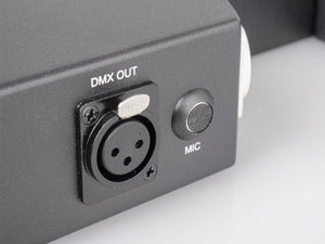 Green-laser/LED bar DMX out connector and microphone