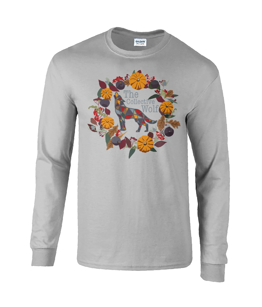 Ash Grey Berry Pumpkin Long Sleeved Tee (Personalise Me) - The Collective Wolf