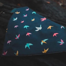 Lataa kuva Galleria-katseluun, Autumn Birds Navy Blue Pet Bandanas - The Collective Wolf