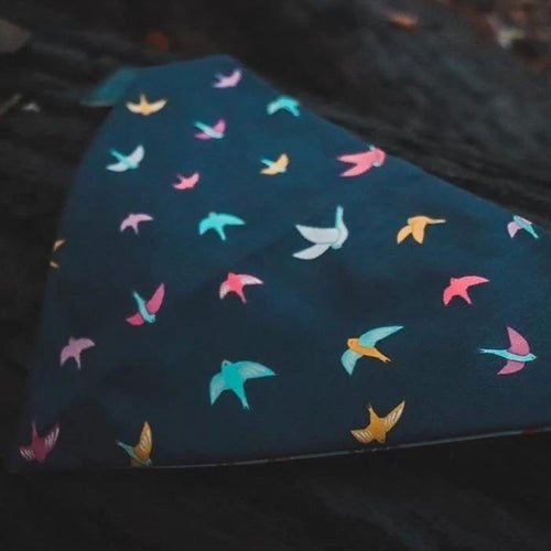 Autumn Birds Navy Blue Pet Bandanas