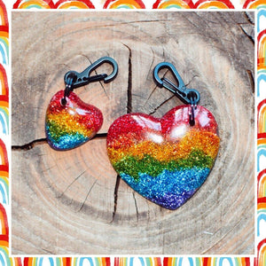 Rainbow Glitter Resin Heart Shaped Keyring