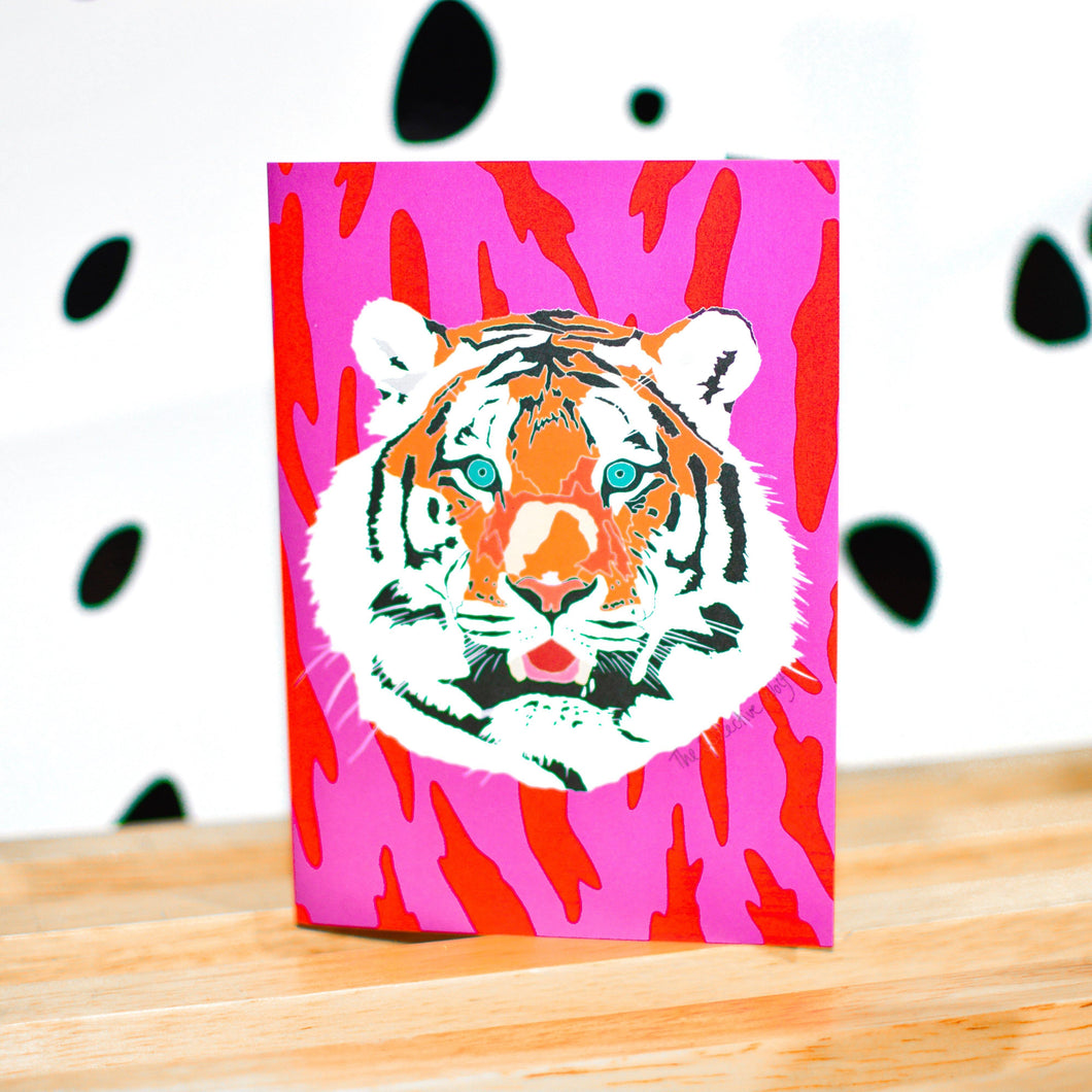 Tiki Tiger Blank Greeting Cards - The Collective Wolf