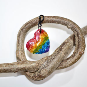 Rainbow Glitter Resin Heart Shaped Keyring - The Collective Wolf