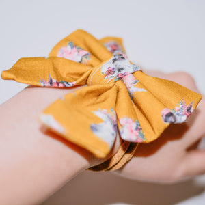 Mustard Floral Unicorn Hair Bows