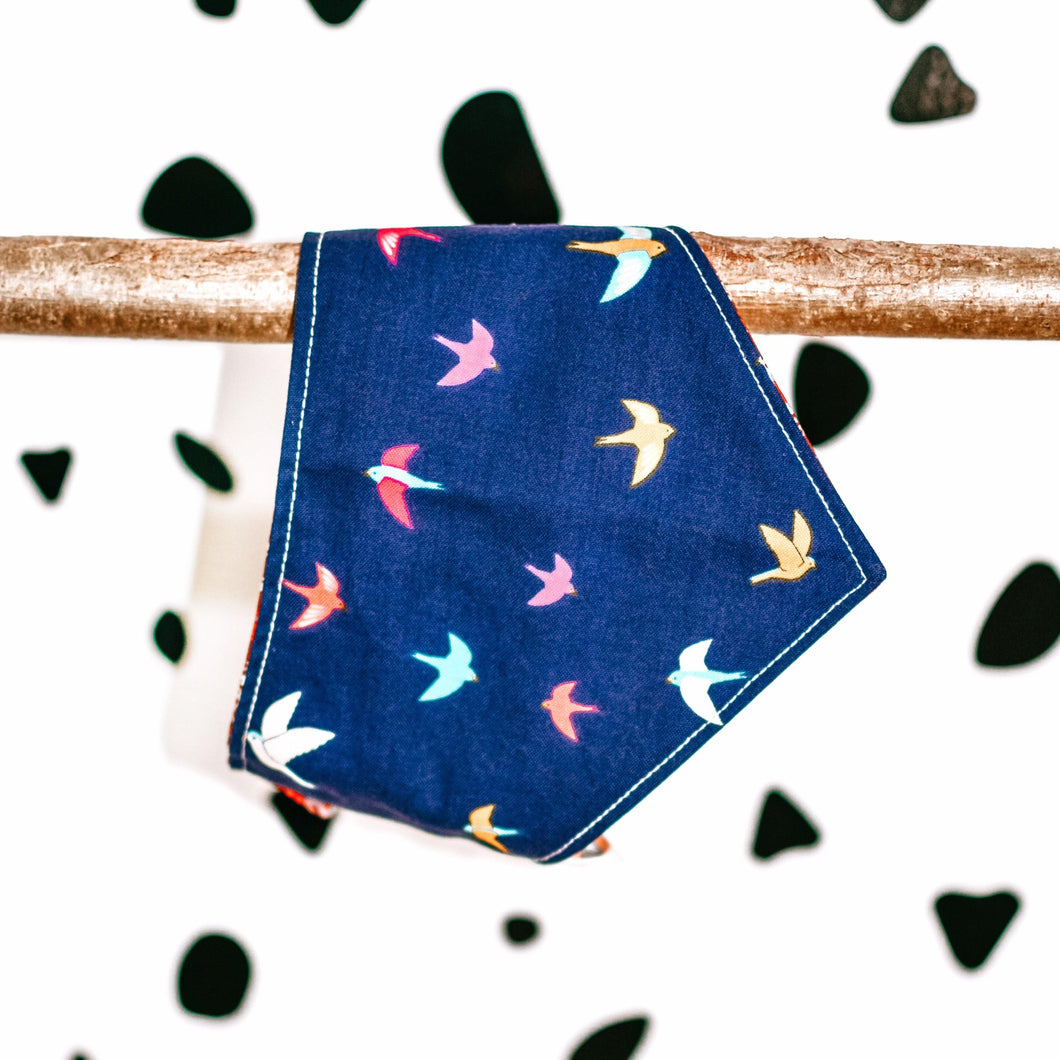 Autumn Birds Navy Blue Pet Bandanas - The Collective Wolf