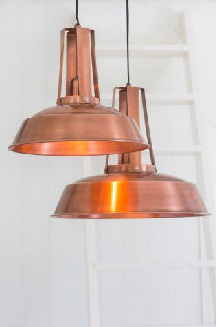 Copper pendant light from hare and wilde lighting york