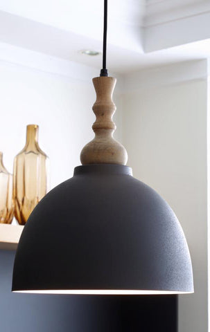 scandi style hanging light with wooden top