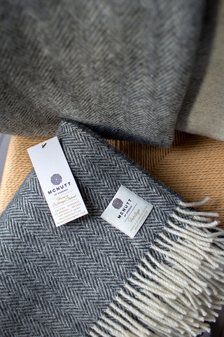 Herringbone Wool Throw - Charcoal