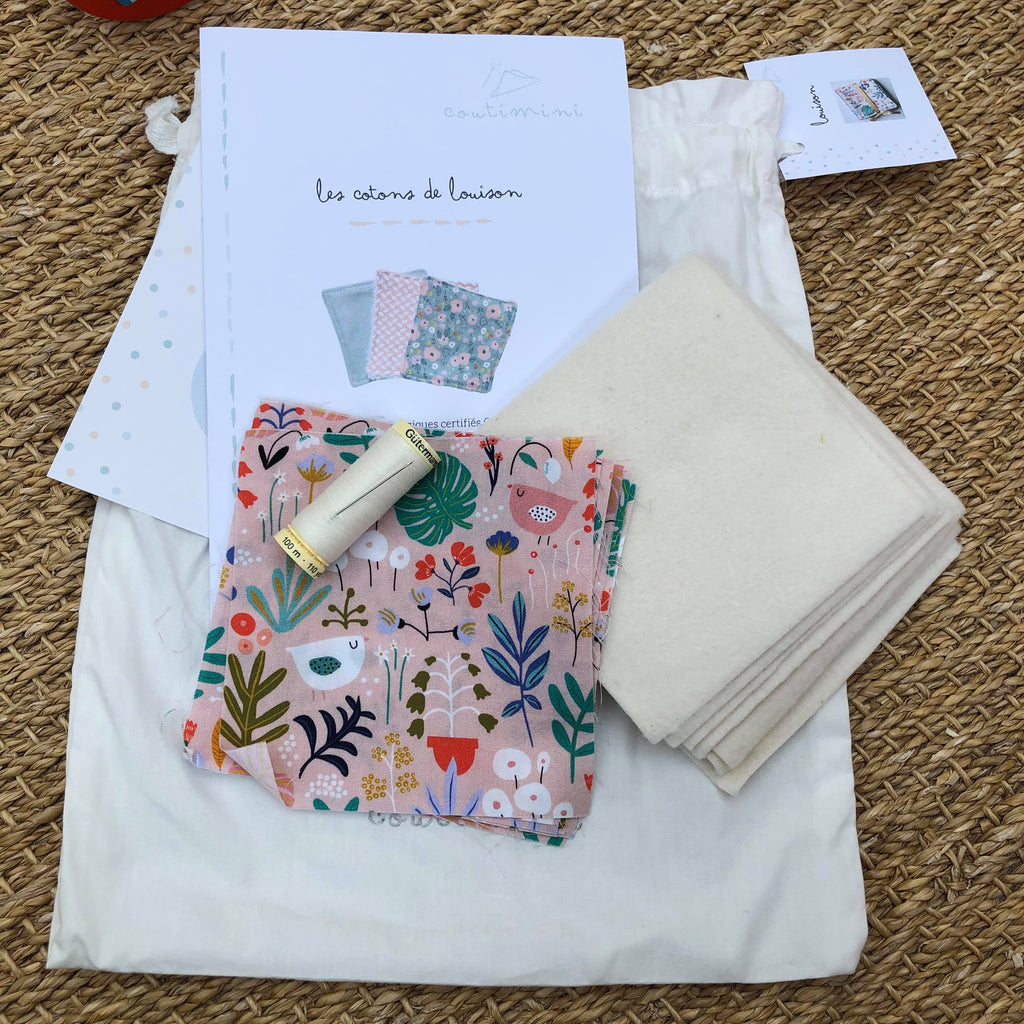 Kit couture cotons lavables roses - Madeleine et Pirouette