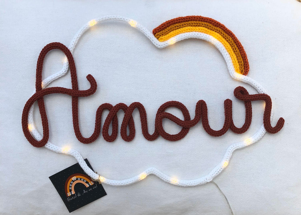 "Veilleuse en tricotin ""amour"" - Madeleine et Pirouette"