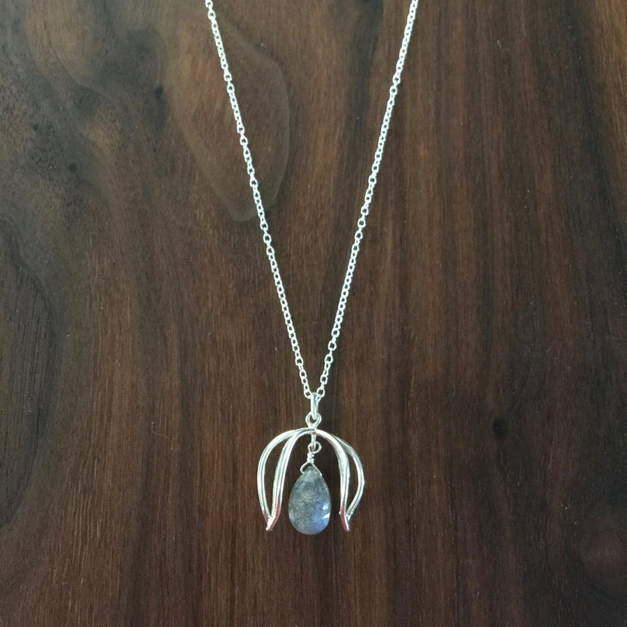 labradorite double petal necklace