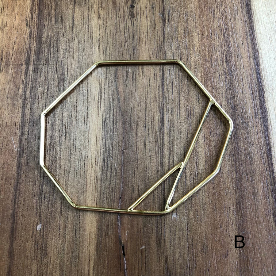 Double geometric profile bangle - petite wrists