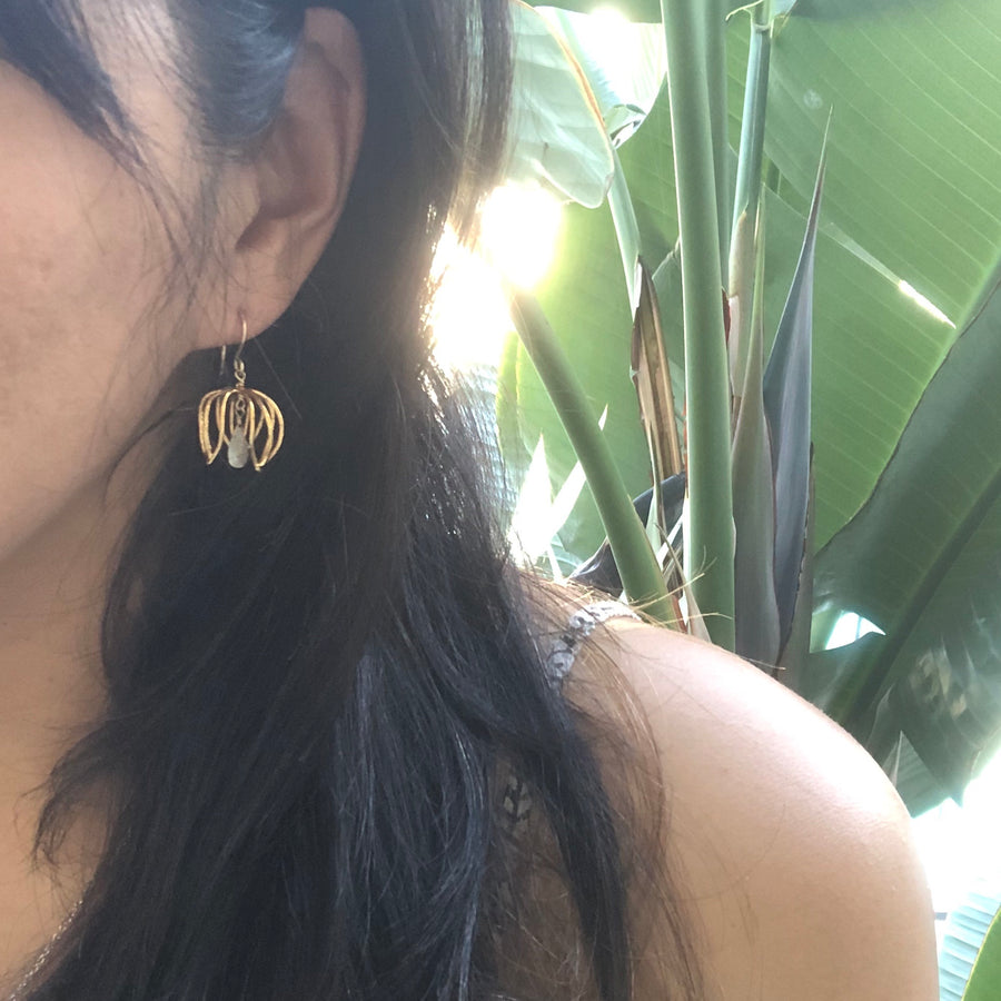 Caged petal earrings with drop stone