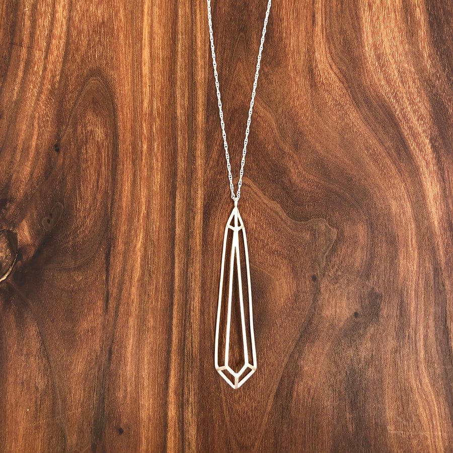 Long faceted open pear necklace