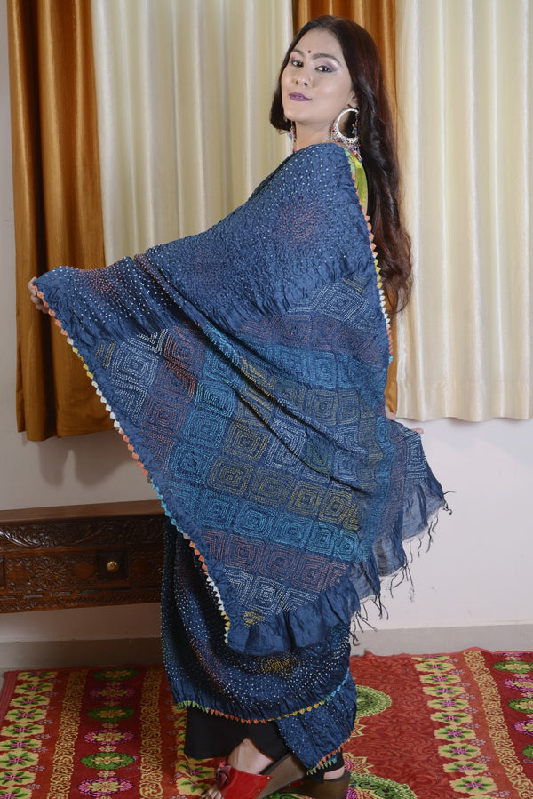 Munga Silk Multi Color Bandhej Saree
