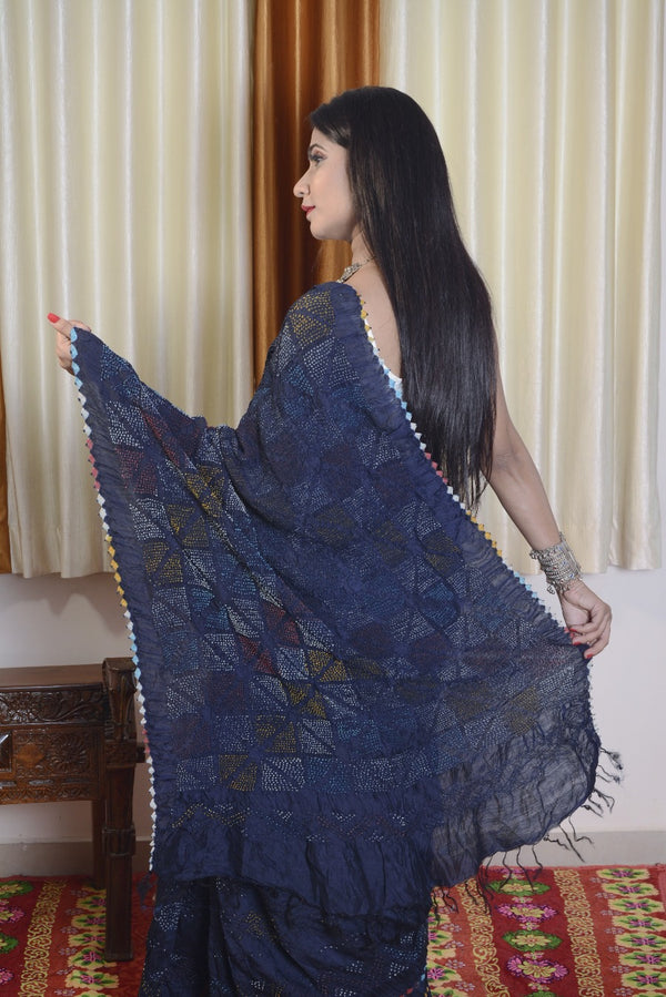 Munga Silk Multi Color Bandhej Saree-001