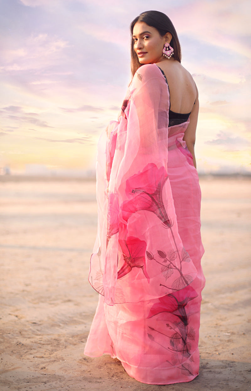 Dark Pink Florals on Organza Saree