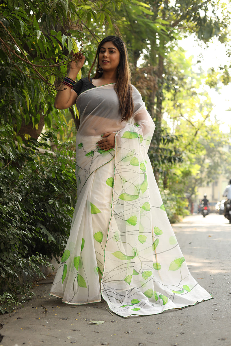Green Florals on White Organza Saree