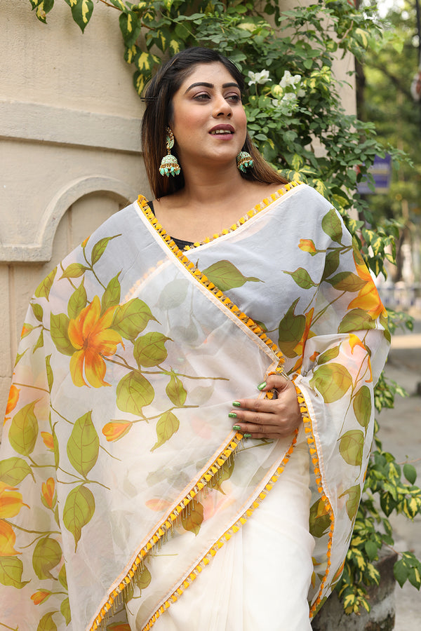 Green and Yellow Florals on Organza Saree