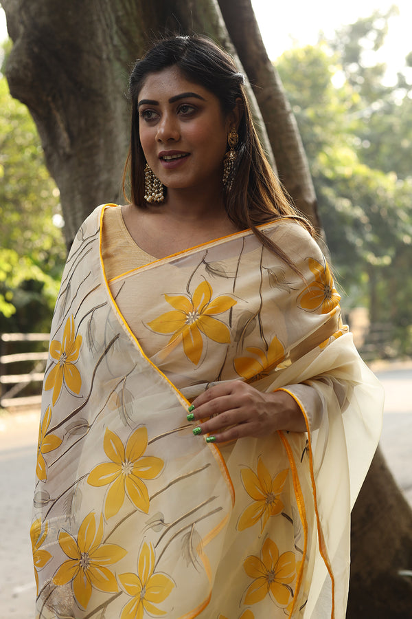 Exclusive Yellow Florals on Organza Saree