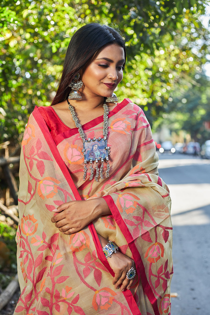 CREAM AND CRIMISN RED ALL OVER FLORAL  SILK JAMDANI (ILJ-120 )