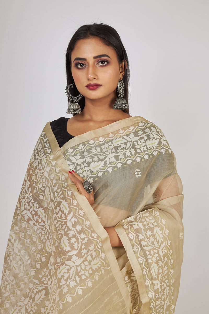 MACRON BEIGE ALL OVER FLORAL  SILK JAMDANI (ILJ-126 )