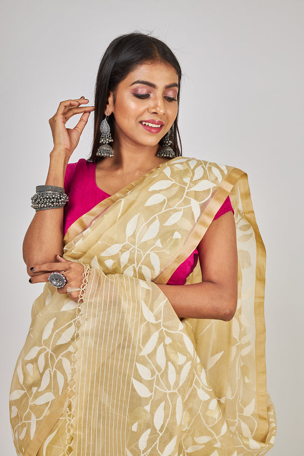 GARDEN OF LEAFS BEIGE ALL OVER  SILK JAMDANI (ILJ-128 )