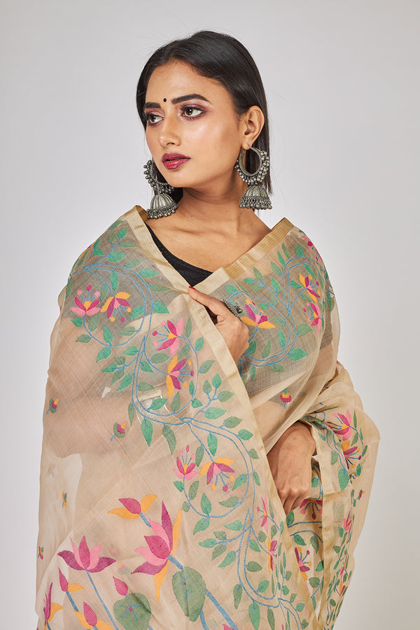 CREAM LOTUS GARDEN AND LEAFS  SILK JAMDANI (ILJ-129 )