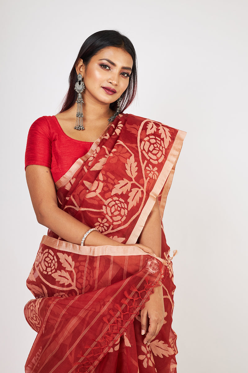 CRIMSON RED AND FLORAL  SILK JAMDANI (ILJ-130 )
